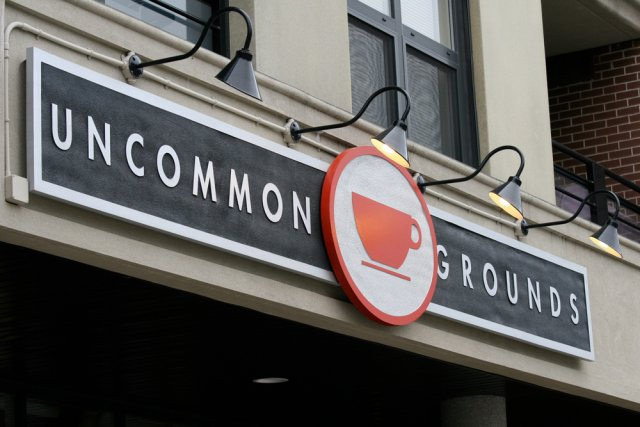 Uncommon Grounds 20' x 3' HDU sandblast painted with custom mixed paints to colour match brand.