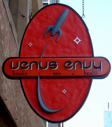 Venus Envy 3' dimensional replica of Venus Envy's logo. Dimensional pin-mounted text painted to colour match brand specifications.