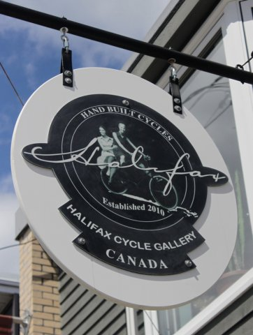 Halifax Cycle Direct print on a raised aluminum panel cut out and attached to pvc backer.